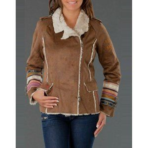 Desigual Brown Faux Suede Embroidered Jacket XL